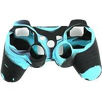 Skitic Silikon Gehäuse Case Schutz Hülle Gehäuse Kasten Abdeckung Tasche für Sony Playstation PS3 Remote Controller - Schwarz Blau