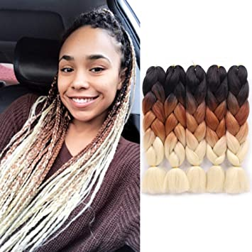 Amazon Com Jiayi 24 5pcs Pack 100g Pc Afro Synthetic Jumbo Braids Ombre Kanekalon Fiber Hair Extension For Braiding Hairstyles Black Brown 613 Beauty