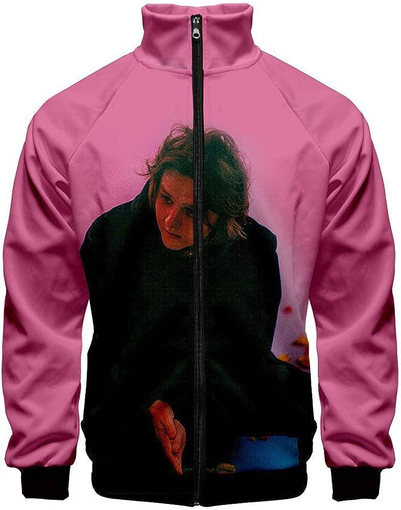 Zanlamens Scottish Singer Lewiscapaldi 3D Color Printing Casual Zip-Up Stand Collar Jacket Coat Mens