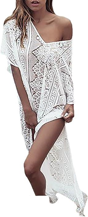 b9a45962e1 ... Swimsuit Caftan Cover Ups Tunic Kaftan Beachwear. MeiLing Women's  Crochet Lace-up Beach Cover Up Tunic Long Maxi Dress