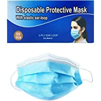 Disposable Face Masks 50 Pcs Blue Protective 3-Ply Anti Dust Breathable Elastic Ear Loop Comfortable Sanitary Breathable…