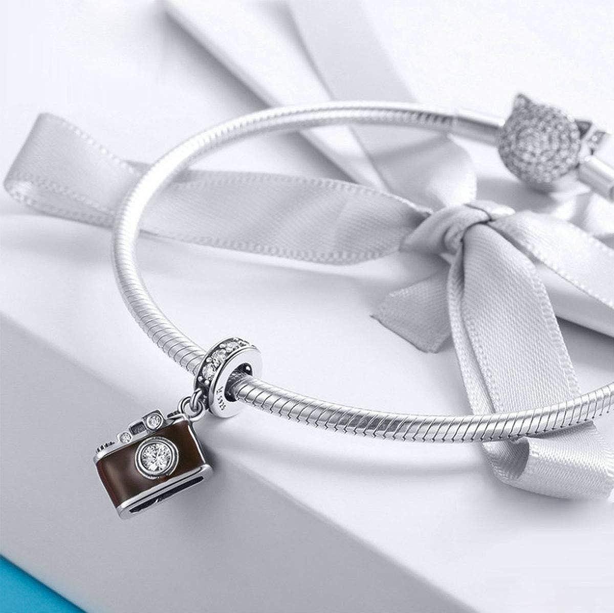 Breloque en argent sterling 925 authentique pour appareil photo avec inscription /« I Love to Travel /» pour bracelet et collier