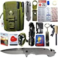 42 in 1 EMERGENCY OUTDOOR SURVIVAL MILITARY POUCH KIT, CAMPING, HIKING, BIKING, HUNTING, BACKPACKING GEARS, AUTO, CAR, TRAVELING, FIRST AID KIT, 2x MYLAR BLANKET, TACTICAL FLASHLIGHT, FOLDING KNIFE