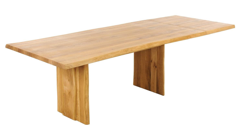 Tisch mit Baumkante Baumtisch 220(280)x100cm 'Amber' Wildeiche massiv geölt Holz