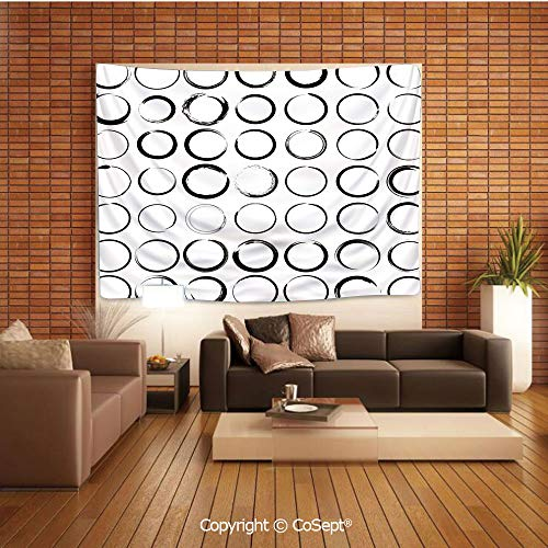 PUTIEN Polyester Fabric Tapestry,Circles with Brush Stroke Effects Artistic Hand Drawn Grunge Style Design,Tapestry Art Print Tapestry for RoomBlack White
