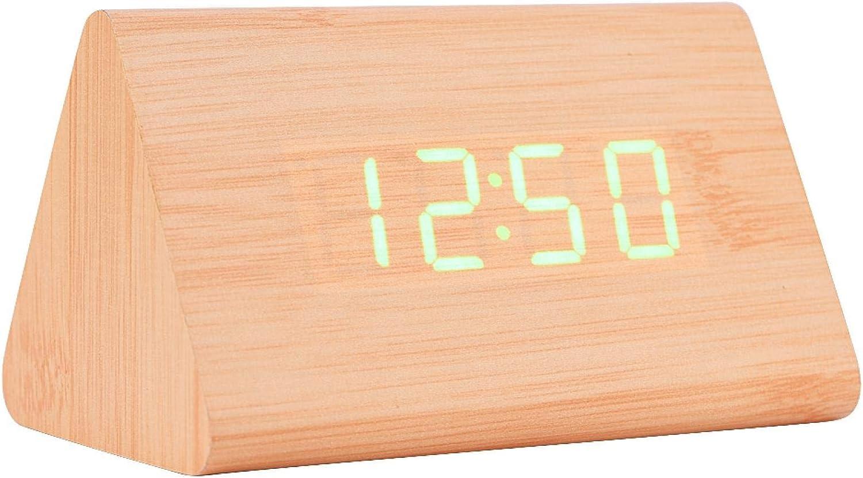 Socobeta Reloj Despertador Digital de Madera electrónico LED Triángulo Temperatura de Tiempo de visualización con Control de Voz para el hogar Dormitorio Oficina(Bambú + luz Verde)