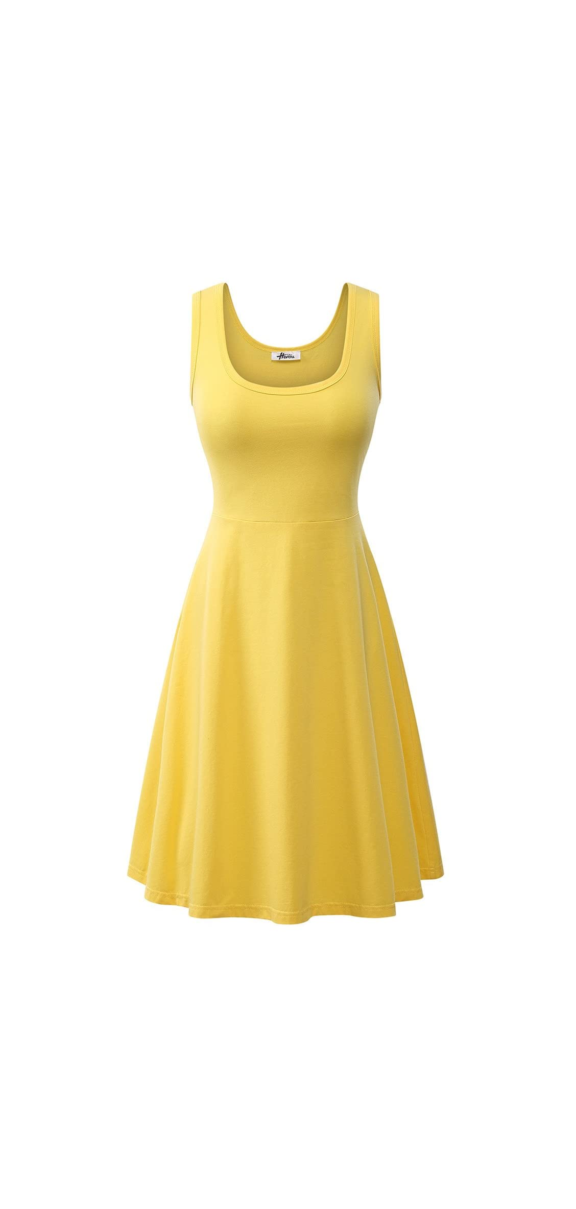 Women Summer Casual Sleeveless Cotton A-line Sun Dresses