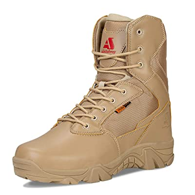 ailishabroy Men's Waterproof Military Tactical Boots Army Jungle Boots Tac Side Zip Outdoor Sneaker: Shoes