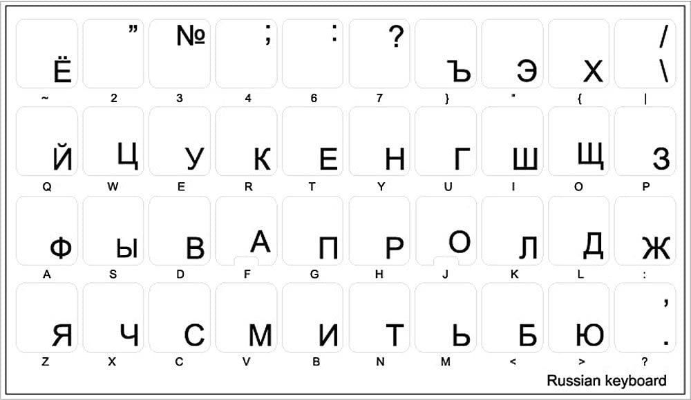 Laptop and Notebook 4Keyboard Russian Cyrillic Keyboard Sticker with Blue Lettering ON Transparent Background for Desktop