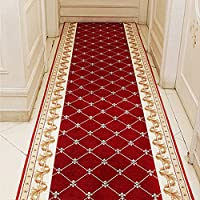 KEYAMA Acrylic Custom sizes Red Grid 3ft width Hallway Stair Runner Non-Slip Hall Runner Stair Area Rug Carpet stair treads-Purchase by the Linear Foot 222