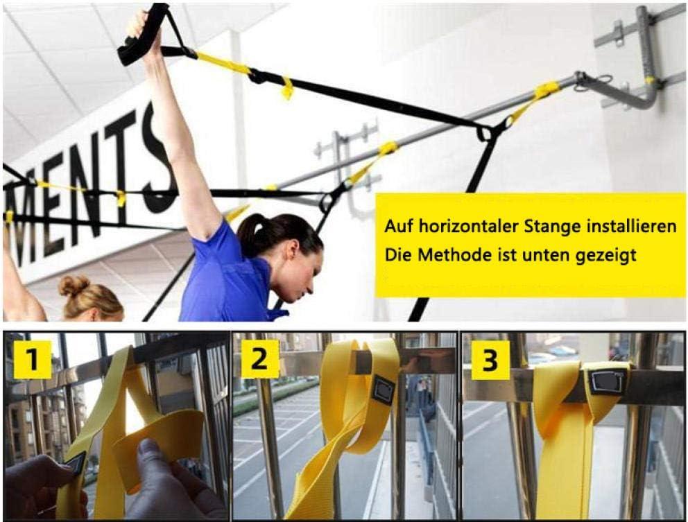 QSYT Sling Trainer Suspension Fitness mit T/üranker Suspension Trainer Fitness Band geeignet f/ür unterwegs und f/ür das Training drinnen und drau/ßen-Gr/ün