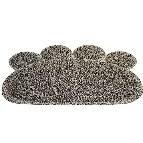Premium Cat Litter Mat Is BPA Free - Gray Cat Litter Mat Was Designed for Small Kittens to Large Cats to Keep the Litter on the Mat. Great for a Cat Food Mat