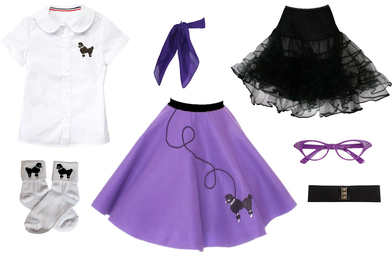 Hip Hop 50s Shop 7 Piece Child Poodle Skirt Outfit, Size 12 Purple
