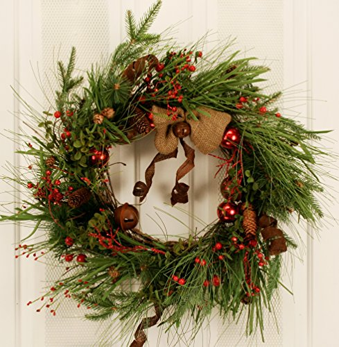 Vintage Silk Jingle Bell Artificial Christmas Door Wreath -Measures 22 Inches- Elegant Front Door Wreath Decorated With Christmas Ornaments, Burlap Bow, and Faux Red Berry - Christmas Artificial Wreath 22