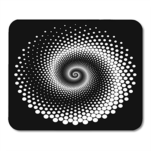 - Boszina Mouse pad Curve Black Vortex Design Spiral Dots Abstract Monochrome No Gradient White Geometric Twirl Office Supplies mouses pad 9.5x7.9 inches Mousepad