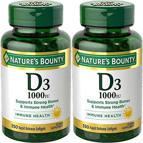 Nature's Bounty Vitamin D3 - 1000 IU, 700 Softgels (2 X 350 Count Bottles)