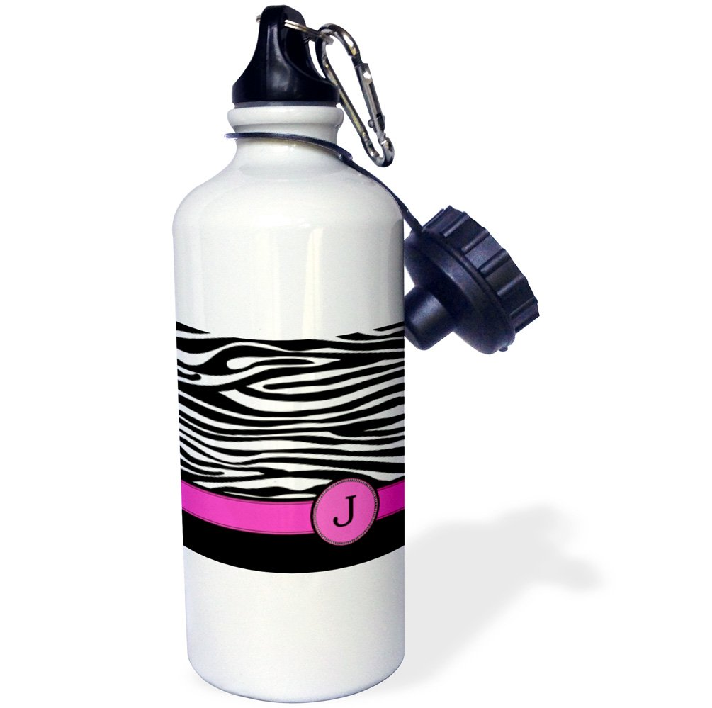 3dRose wb_154281_1 Letter J Monogrammed Black and White Zebra Stripes Animal Print with Hot Pink Personalized Initial Sports Water Bottle, 21 oz, White