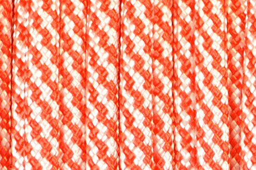 (BoredParacord Brand Paracord/Parachute Cord 7-Strand, 550 Lb. Break Strength Guaranteed U.S. Made, Type III - Candy Cane (100 feet))