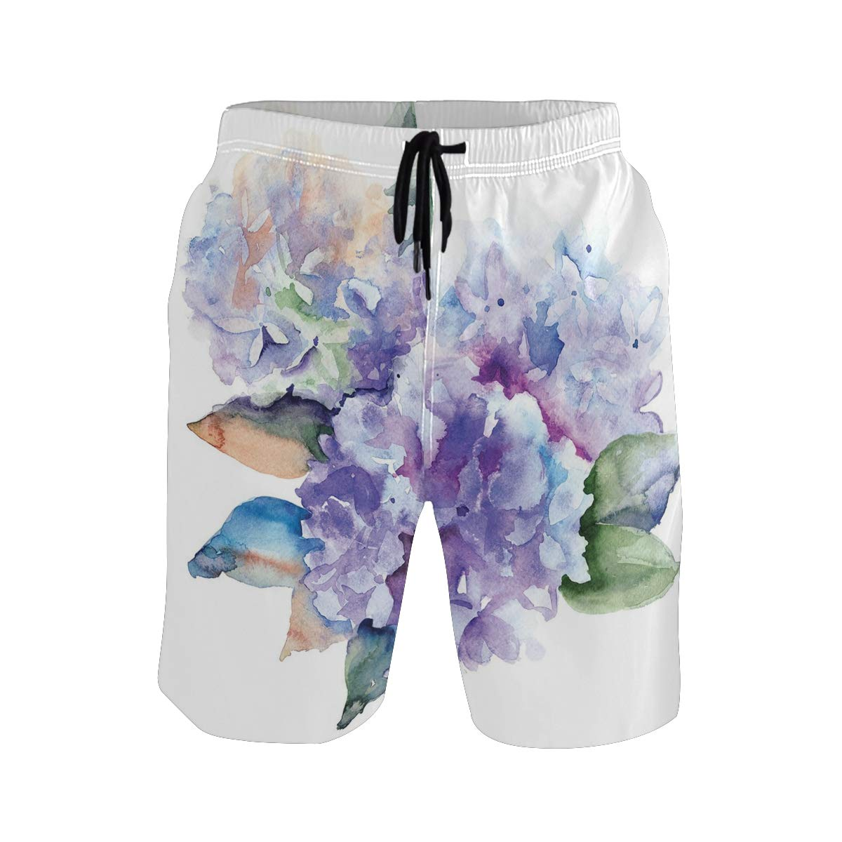 COVASA Mens Summer ShortsWatercolor Delicate Hydrangea Flowers Blooming Botani