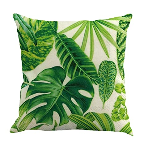 Funda Cojín con Diseño Hojas Verdes Tropicales Lino y ...