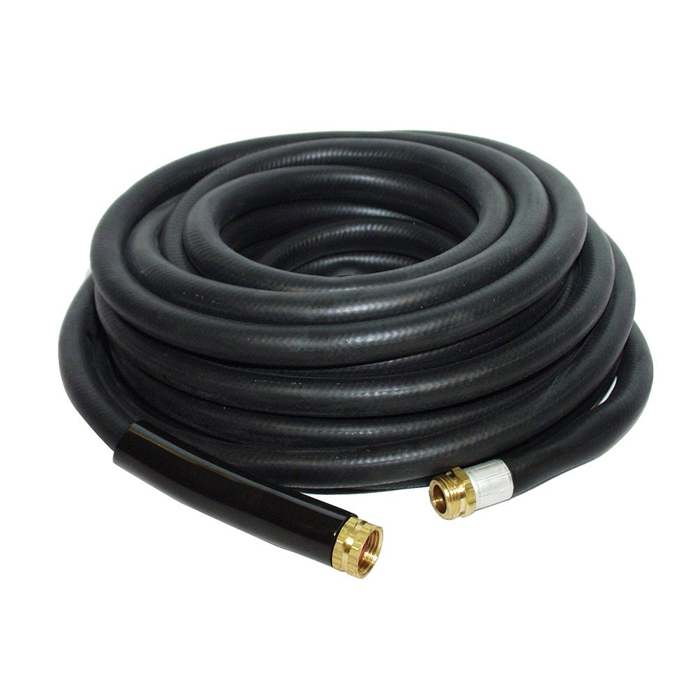 Apache 98108804  3/4'' x 50' Industrial Rubber Water Hose Assembly with Male x Female Garden Hose Thread Fittings by Apache