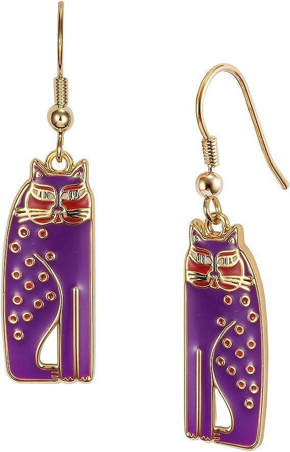 Purple Cat Lover Earrings Marked Siamese Cats Dangle Earrings Missing Hooks Vintage Laurel Burch Siamese Cats Earrings Without Hooks