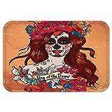 VROSELV Custom Door MatDay Of The Dead Decor Dia de LoMuertoSpanish Mexican Festive Skull Art Cinnamon Magenta Maroon
