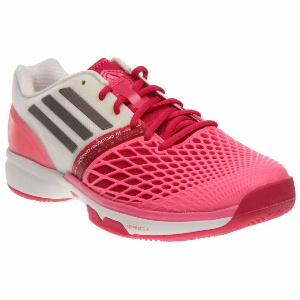 adidas CC Adiczero Tempaia III Womens Tennis Shoe (10, Bold Pink/Iron Metallic/Core White)