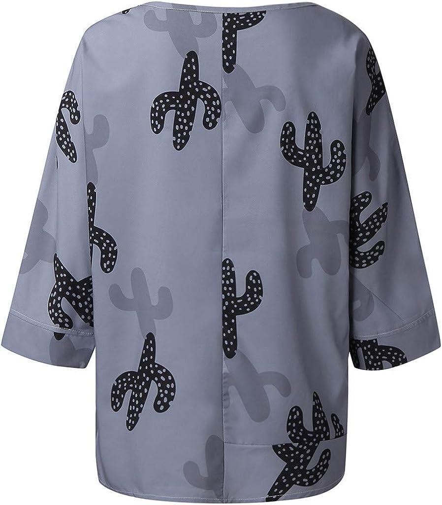 Camisetas Suelto, Camisa Casual Mujer Tallas Grandes Camisetas Mujer Manga Cactus Impresión de Camisas Mujer Camiseta de Manga Larga para Mujer Camisa Oficina Suelto Verano: Amazon.es: Ropa y accesorios