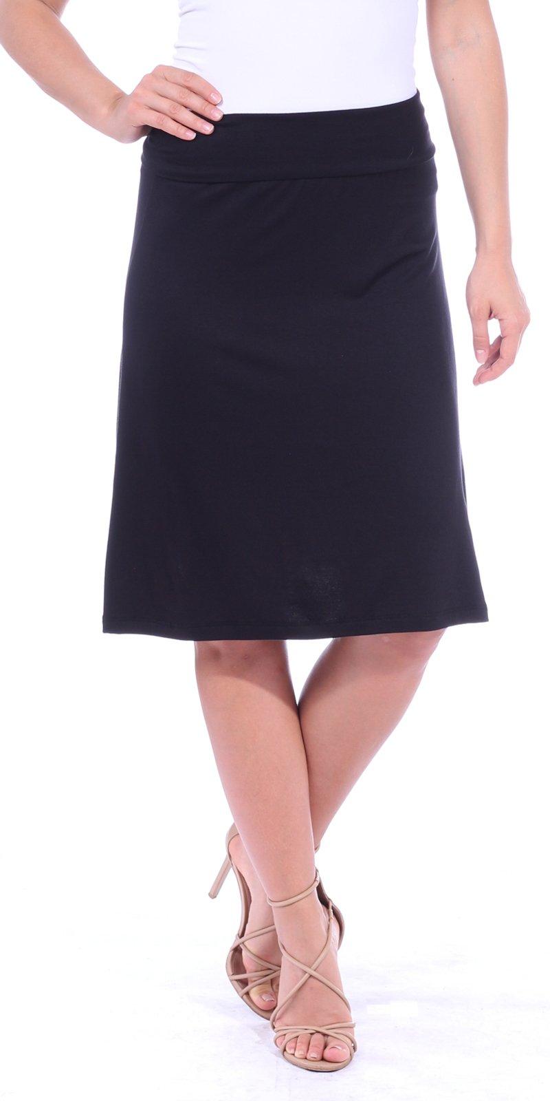 Popana Women's Casual Stretch Midi Knee Length Short Summer Skirt - Made in USA Medium Black