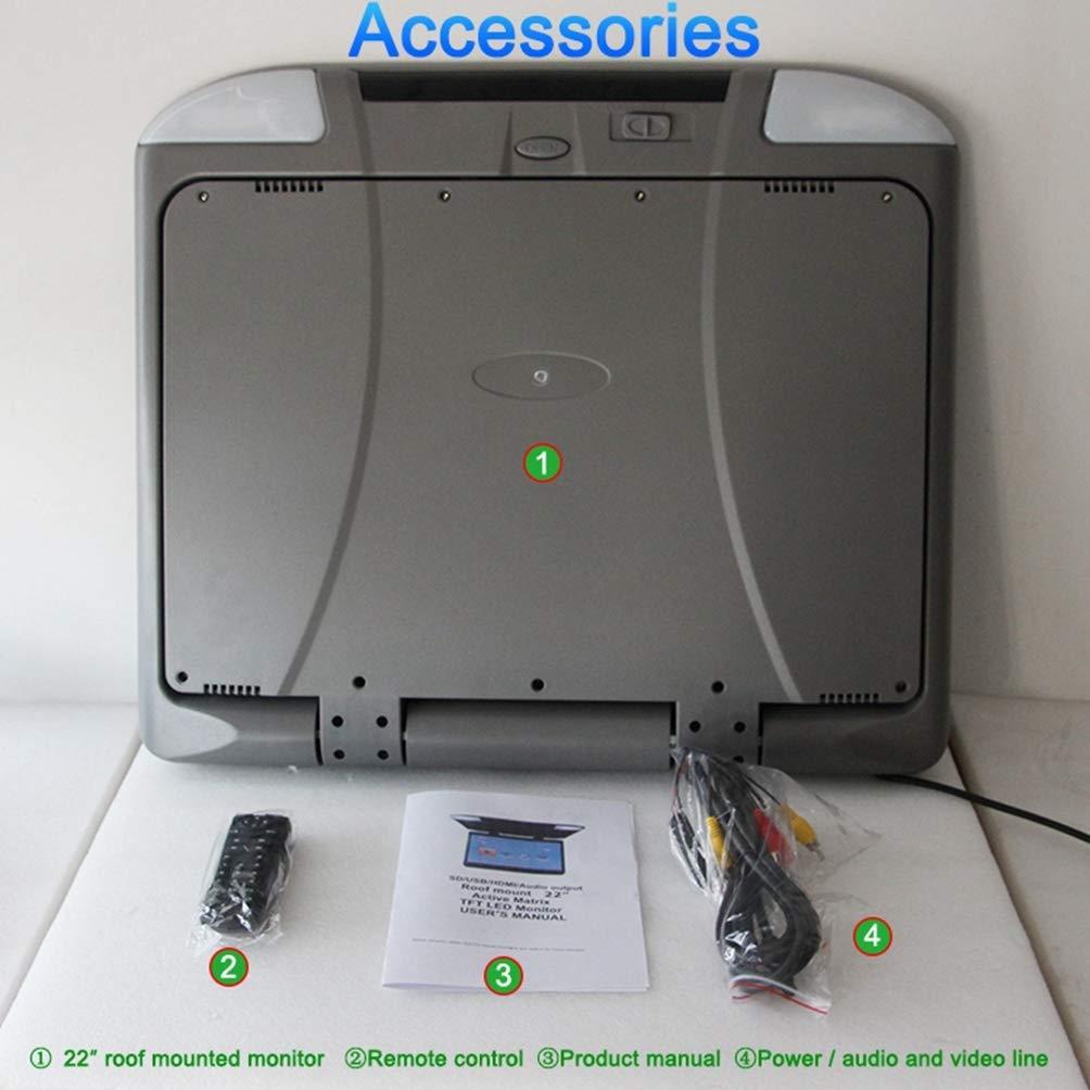 Monitor abatible para autom/óvil de 22 pulgadas Monitor HDMI 1080P HD TFT LCD Montaje en el techo Monitor ultra delgado Overhead Reproductor MP5 para auto SD MP3 MP4 LED con transmisor FM USB,Gray