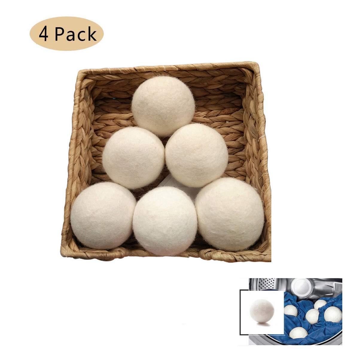 ウールドライヤーボール| 4 PCS有機タンブルドライヤーボール|再利用可能な天然繊維柔軟剤|静電気軽減無香料環境にやさしいタンブル|節約お金、時間と環境|自然にあなたの服を柔らかくしてふわふわさせる B07THKYCZ5