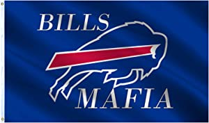 VAFLAG Buffalo Bill Flag Bills Mafia Flag 3x5 Ft Vivid Color and UV Fade Resistant - Cool Outdoor Indoor College Man Cave Decor Banner with Grommets Canvas Header and Double Stitched Wall Flags Sign