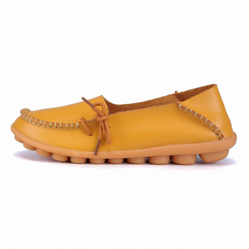 MXTGRUU Women's Leather Casual Slip-ONS Shoes B07DMKWJWQ 8 B(M) US|Earthy Yellow-2