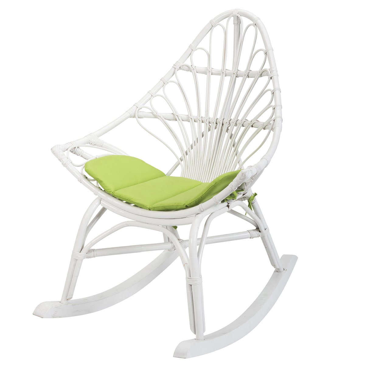 SOLDES : -44% Rocking chair en rotin blanc CALPE - Rotin Design