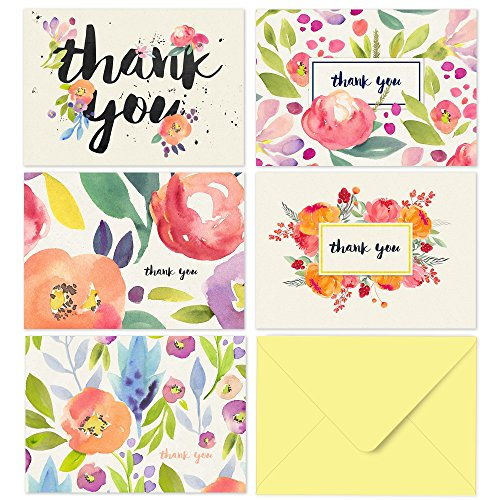 40 Thank You Cards with Envelopes - Floral Watercolor with Yellow Envelopes - Weddings Bridal Showers Baby - Finish Floral