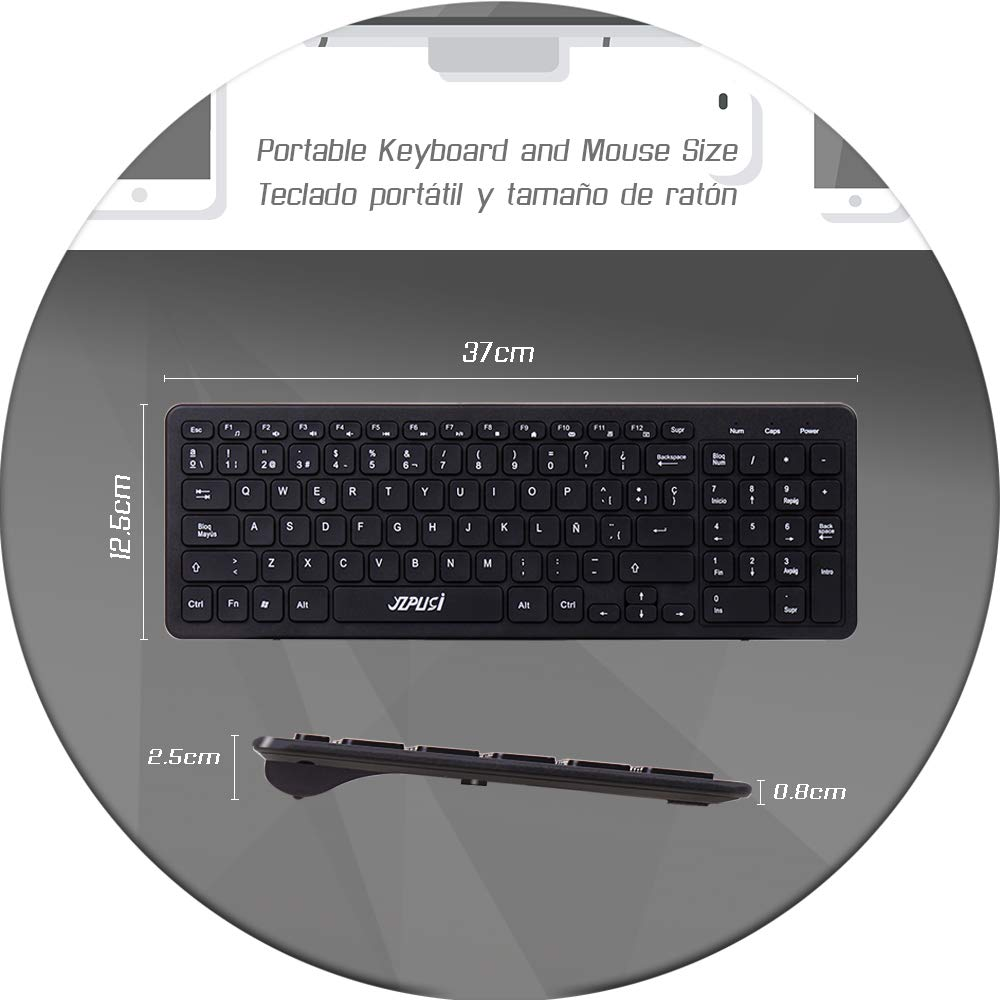 YZPUSI Wireless Inalámbricos Español Teclado y Ratón, Ultra Slim Wireless QWERTY Español Teclado per Windows PC, Portátil silencioso Raton: Amazon.es: ...