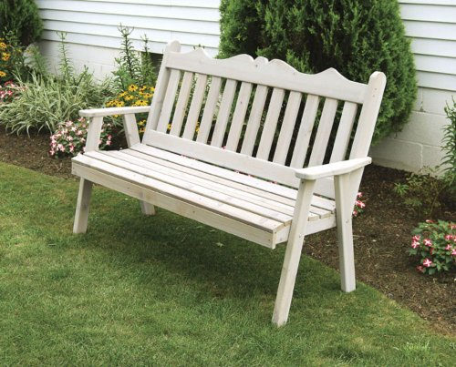 - Cedar Outdoor 6 Foot Royal English Garden Bench - STAINED- Amish Made USA -Oak