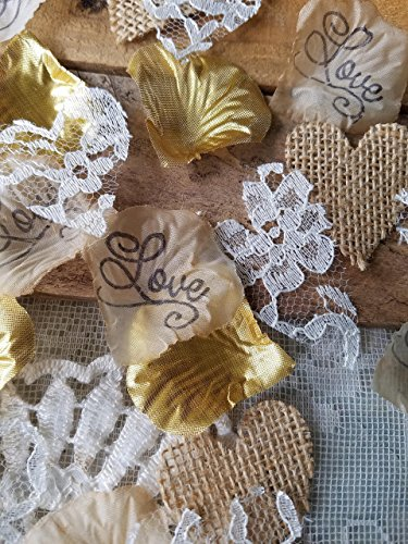 "Handmade Burlap & Lace Heart Confetti with ""Love"" Stamped & Gold Silk Rose Petals, Rustic Chic DIY Centerpiece Table Scatter, Wedding Aisle Mix, Flower Girl Throw"