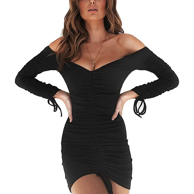 5d587efb96 Antopmen Women Sexy Off Shoulder Long Sleeve Ruched Bodycon Mini Club Dress  (Small