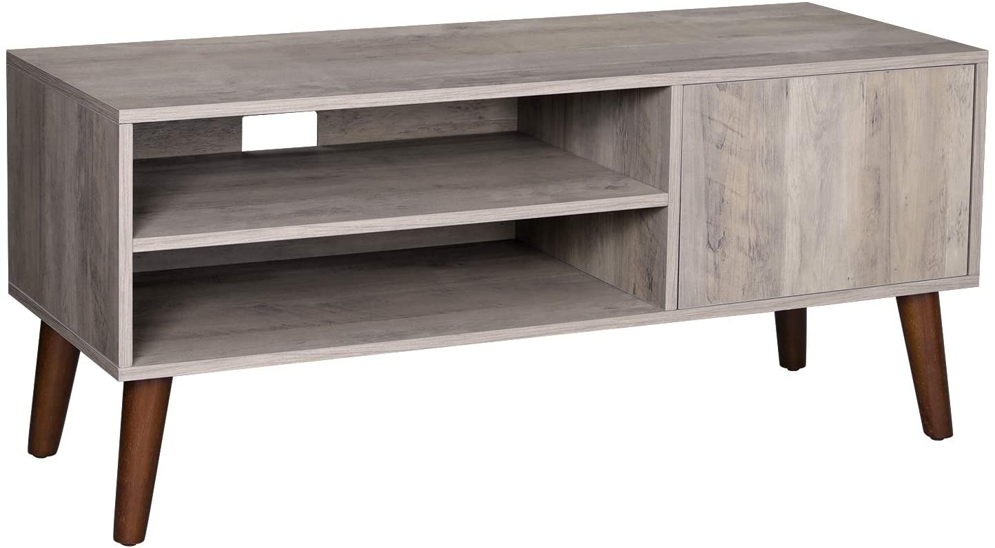 VASAGLE Retro TV Stand, TV Cabinet and Console for TVs up to 43 Inches, Mid-Century Modern Entertainment Center for Flat Screen TV, Gaming Consoles, in Living Room, Office, Greige ULTV009M01