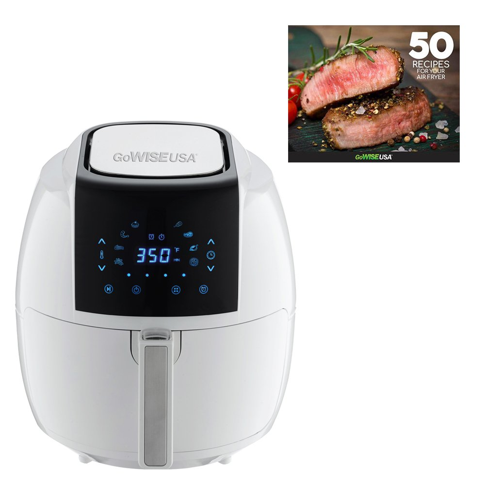 GoWISE USA 8-in-1 Digital Air Fryer + 50 Recipes for your Air Fryer Book (5.8-QT, White)