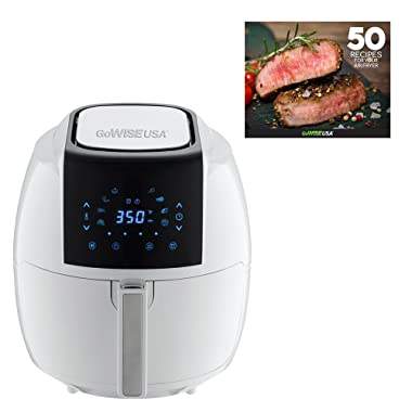 GoWISE USA 8-in-1 Digital Air Fryer + 50 Recipes for your Air Fryer Book (3.7-QT, White)