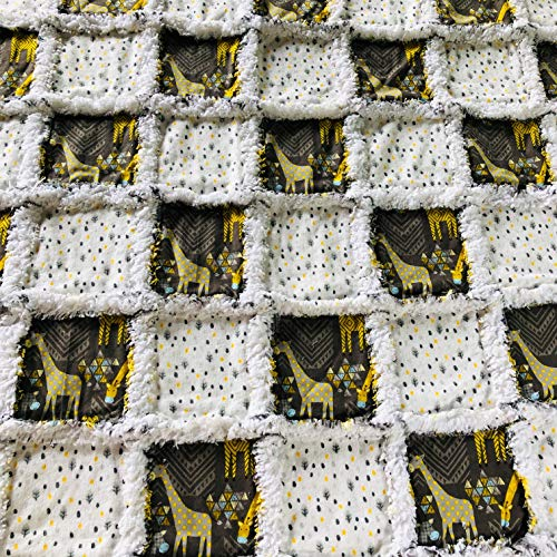 Baby rag quilt with bold graphic giraffes patterns in brown yellow grey black blue white
