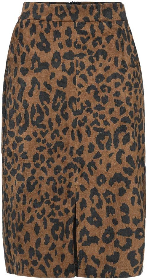 EDC Womens High Waist Leopard Pencil Skirts Autumn Winter Wear to Work Stretchy Office Business Mermaid Skirt Casual Split Zipper Tube Skirt XS, Black