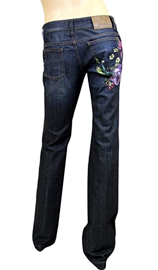 Amazon.com  Gucci Flower Embroidery Blue Cotton Denim Jeans 70 s ... 651fcbbb3f5