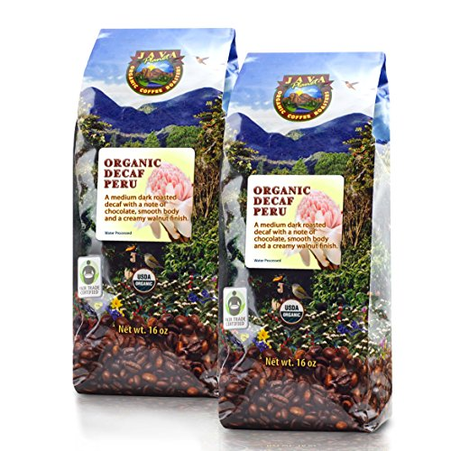 Java Planet - Decaf Coffee Peru USDA Organic Coffee Beans, Water Processed, Medium Dark Roast, Arabica Gourmet Coffee Grade A, packaged in 2 - 1 LB bags