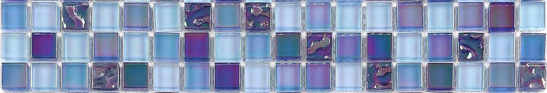 mosaico cenefa. 30 x 4, 8 x 0, 8 cm delgado borde Border Feature mosaico de azulejos. Lustrous Iris ierende Perla Azul Lila Brillante Cristal Mosaico (mb0096) 300 x 48 x 8 mm 8x 0 GTDE