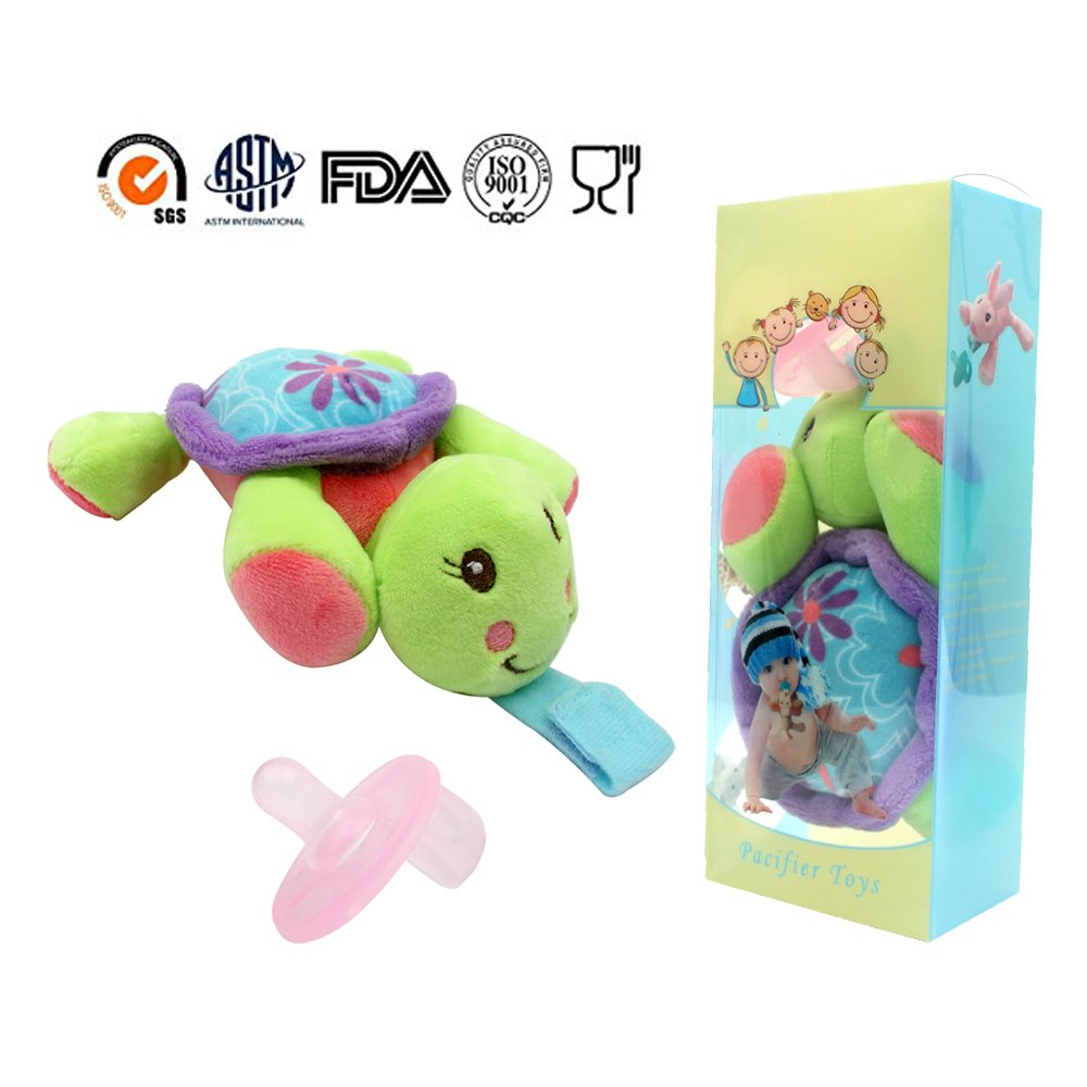 Safe infant Pacifiers, STAR-FLY Lovely No Toxicity Removable infant Pacifiers Holder with Plush Animal Toy Baby Orthodontic Nipples (Turtle)