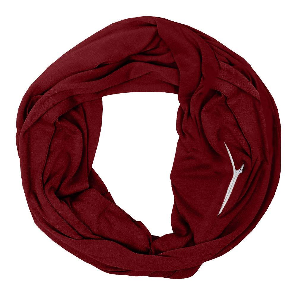 Fheaven ユニセックス 冬用 暖かいループスカーフ ジッパー付き シークレットポケット 無地 ショールリング レディース メンズ 恋人 0-3 Months レッド B07JFX3ZHN ワイン